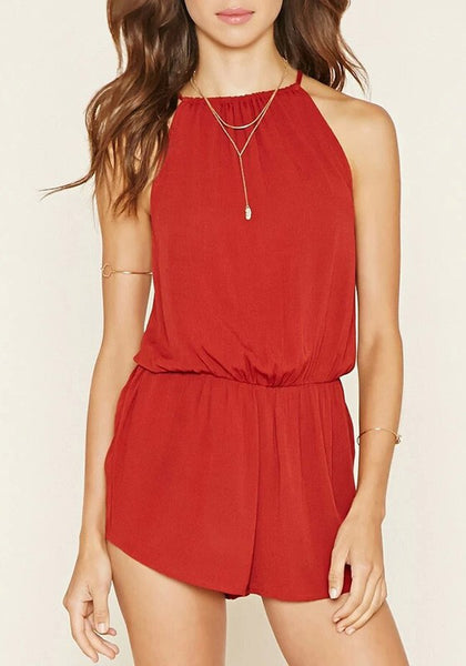 Red Tie Back Draped Halter Neck Spaghetti Strap Short Jumpsuit