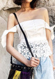 White Lace Cut Out Bow Off Shoulder Backless Sweet Blouse