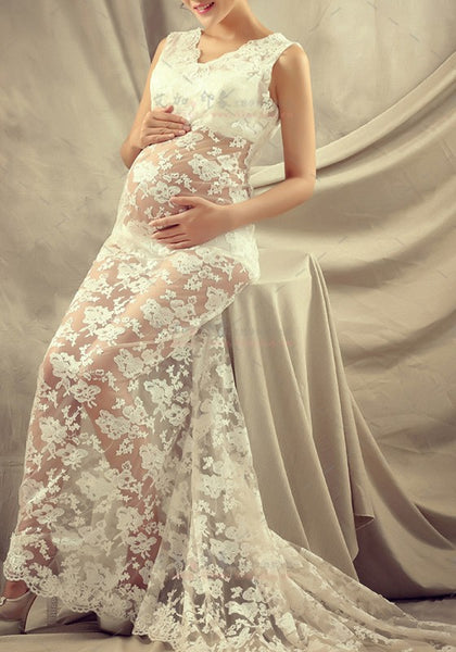 White Lace Mermaid Maternity Round Neck Wedding Gowns Maxi Dress