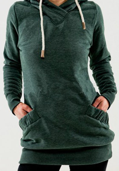 Green Pockets Drawstring Hooded Long Sleeve Pullover Sweatshirt