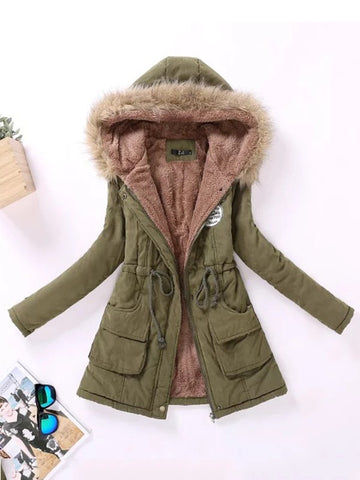 New Army Green Drawstring Pockets Hooded Casual Outerwear