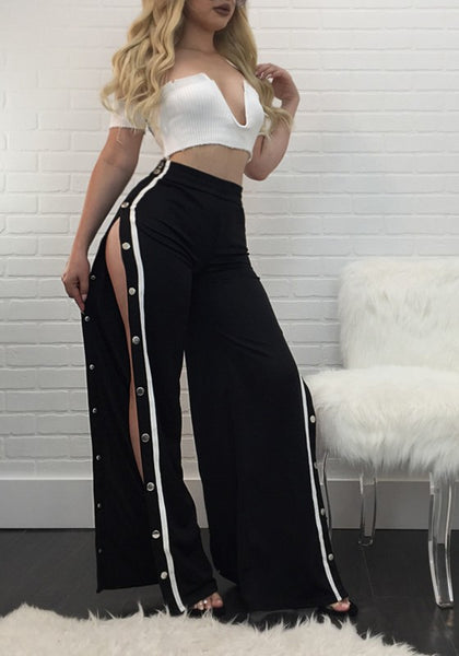 Black Rivet Double Slit Elastic Wide Leg Palazzo Pants