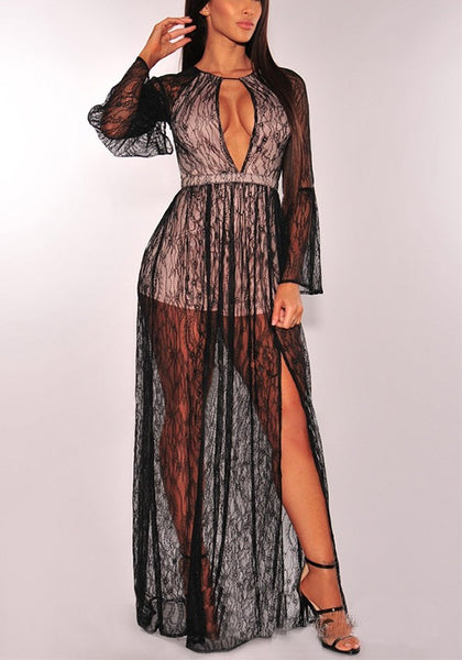 Black Lace Cut Out Grenadine Side Slit Sheer High Waisted Party Maxi Dress