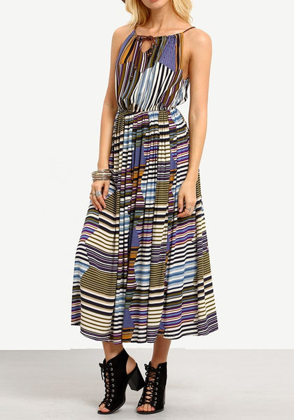 Multicolor Striped Print Pleated Drawstring Spaghetti Strap High Waisted Vintage Maxi Dress