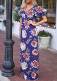 Sapphire Blue Floral Pleated V-neck Short Sleeve Bohemian Sweet Maxi Dress