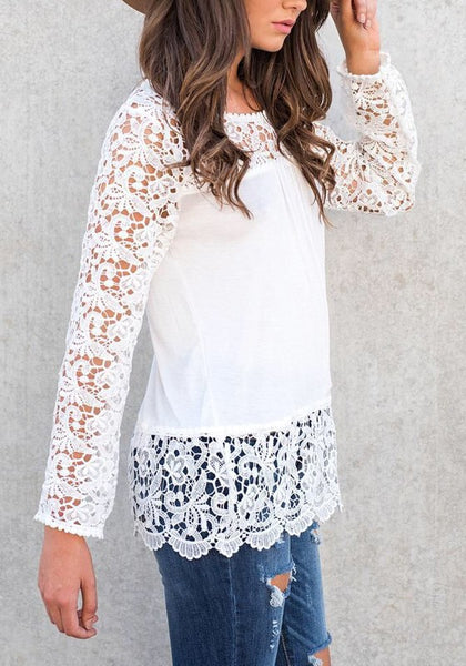 White Patchwork Lace Round Neck Long Sleeve Casual T-Shirt
