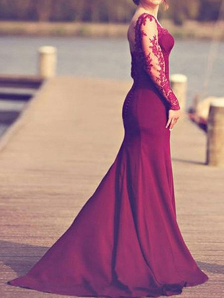 Burgundy Zipper Lace Cut Out Backless Mermaid Wedding Gowns Floor Length Elegant Maxi Dress