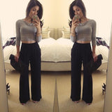 Black Draped Pockets Elastic Waist High Waisted Chiffon Casual Long Pants
