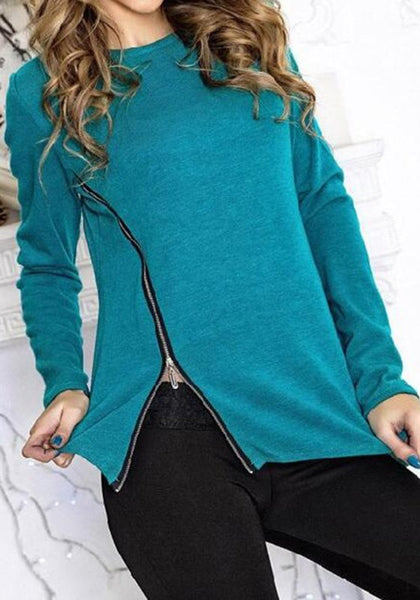 Blue Plain Zipper Round Neck Fashion Polyester T-Shirt