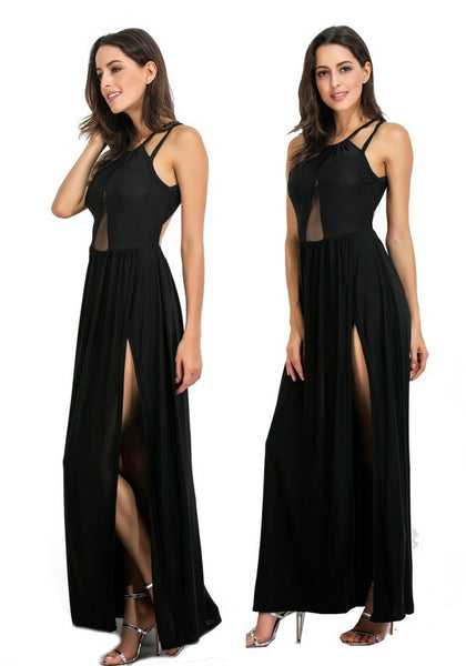 Black Spaghetti Strap Cut Out Grenadine Backless Side Slit Party Maxi Dress