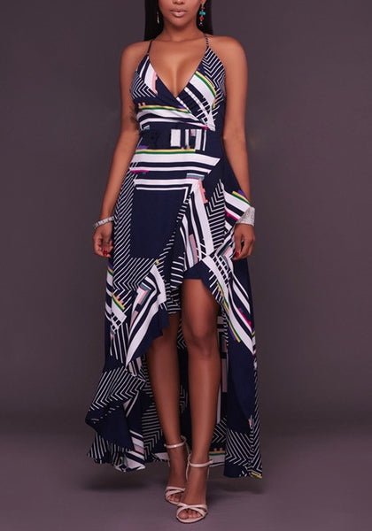 Dark Blue Geometric Print Irregular High-low Backless Homecoming Party Maxi Dress
