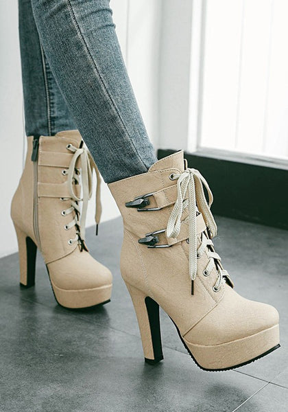 Beige Round Toe Chunky Zipper Casual Boots