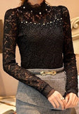 Black Beaded Beading Lace Office Worker/Daily Going out Blouse