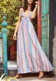 Blue Tribal Print Striped Spaghetti Strap Flowy Deep V-neck Bohemian Party Maxi Dress