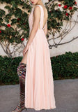 Pink Draped Lace-up Flowy Deep V-neck High Waisted Bridesmaid Graduation Party Maxi Dress