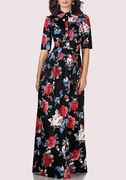 Black Flowers Belt Single Breasted Draped Turndown Collar Maxi Dress