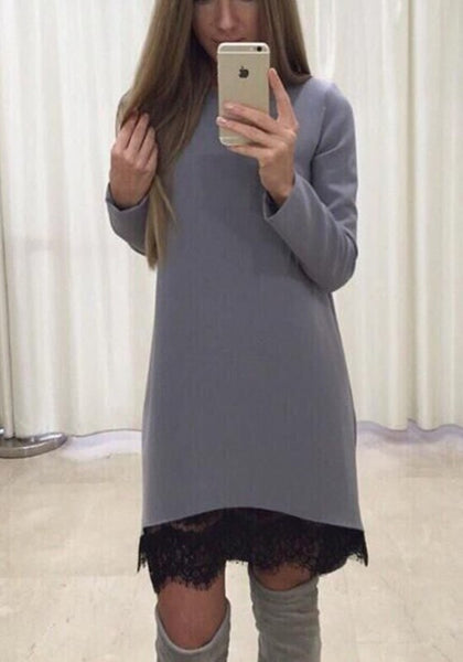Grey Plain Lace Round Neck Long Sleeve Sweet Midi Dress
