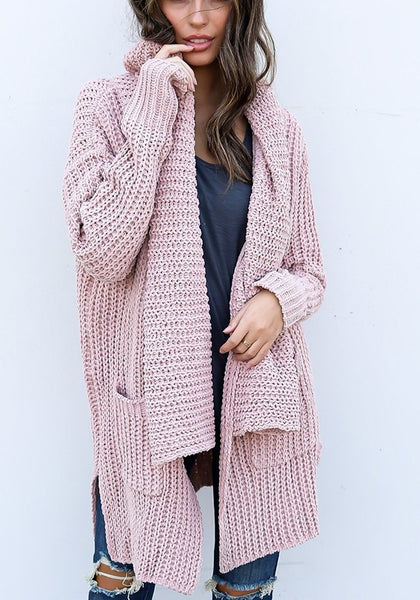 Pink-Purple Plain Irregular Pockets Casual Pullover Sweater