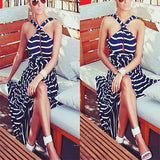Navy Blue Striped Draped Halter Neck Slit Sleeveless Casual Maxi Dress
