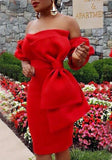 Red Bow Backless Off Shoulder Bodycon Short Sleeve Party Midi Dress