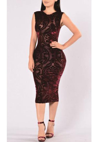 Burgundy Patchwork Grenadine Bodycon Sheer Clubwear Bandage Midi Dress