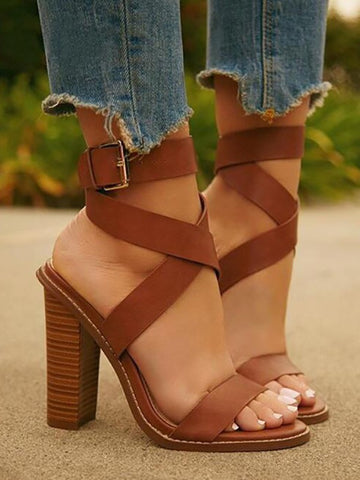 Brown Round Toe Chunky Fashion High-Heeled Sandals