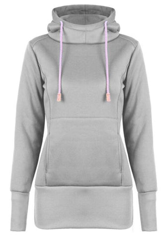 Light Grey Drawstring Pockets Hooded Casual Pullover Long Sweatshirt
