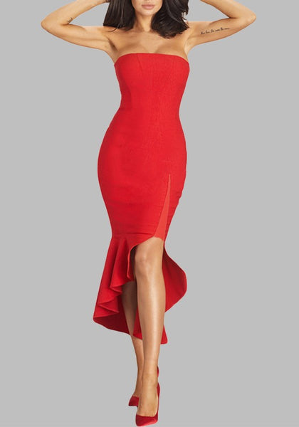 Red Irregular Pleated Bodycon Bandeau High-low Cocktail Party Elegant Maxi Dress