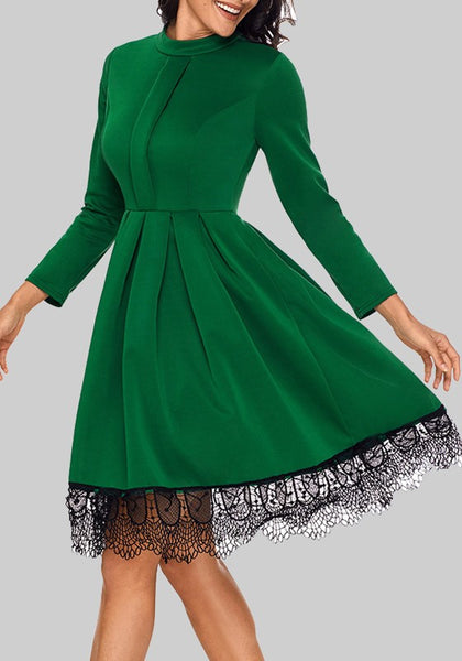 Green Patchwork Lace Pleated High Waisted Skater Tutu St. Patrick's Day Party Midi Dress