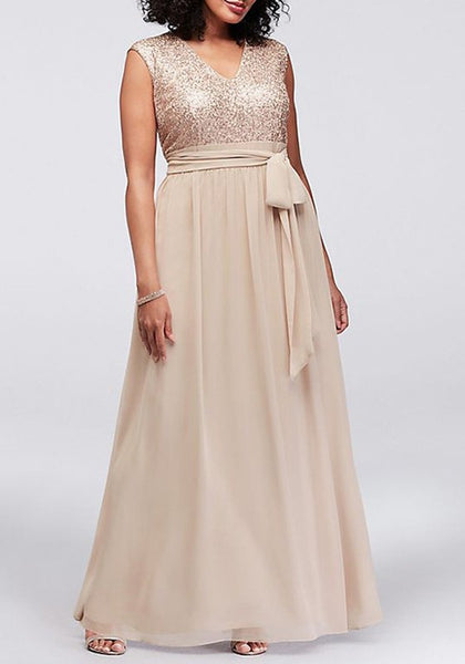 Khaki Patchwork Sequin Sashes V-neck Sleeveless Maxi Dress