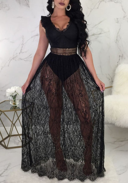Black Floral Lace Deep V-neck Backless Sheer Clubwear Cocktail Party Combo Maxi Dress