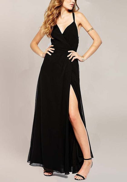 Black Plain Condole Belt V-neck Sleeveless Fashion Maxi Dress