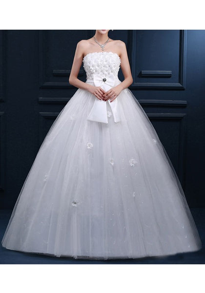 White Appliques Beading Bow Grenadine Bandeau Tulle Tutu Wedding Maxi Dress