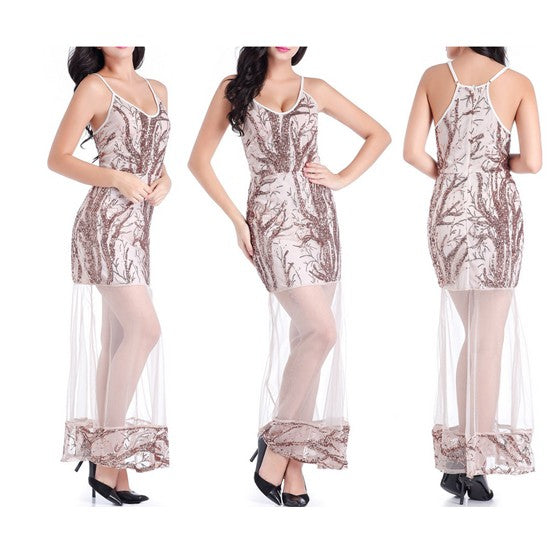 Rose Gold Patchwork Sequin Condole Belt Grenadine Spaghetti Strap Maxi Dress