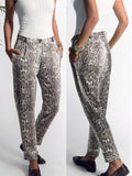 Grey Pockets Buttons Leopard High Waisted Fashion Long Pants