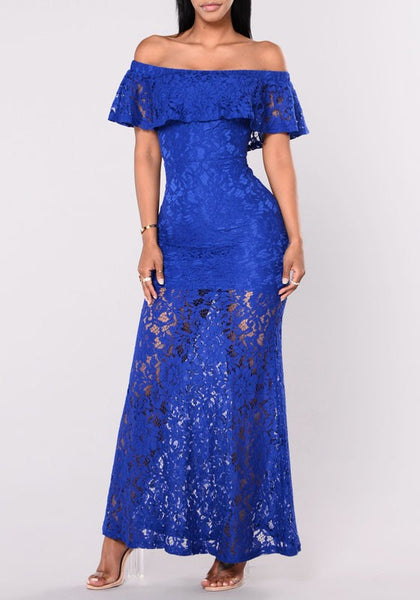 Sapphire Blue Floral Lace Ruffle Draped Off Shoulder Party Elegant Maxi Dress