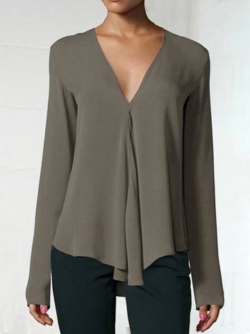Army Green Draped V-neck Long Sleeve Fashion Chiffon Blouse
