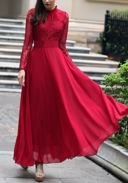 Wine Red CCLace Ruffle Draped Round Neck Long Sleeve Elegant Maxi Dress