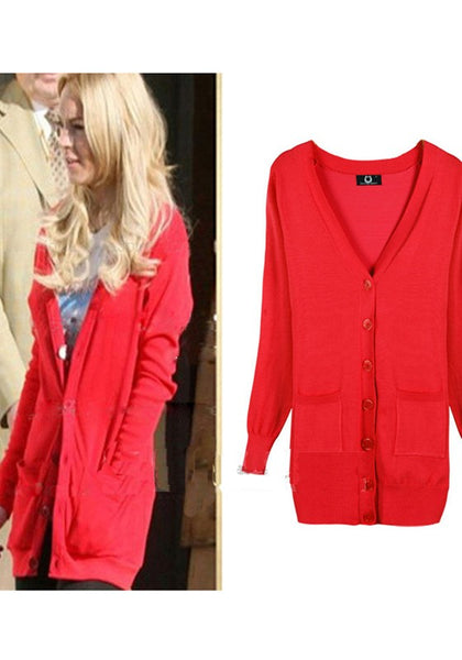 Red Pockets Single Breasted V-neck Long Sleeve Cardigan Sweater