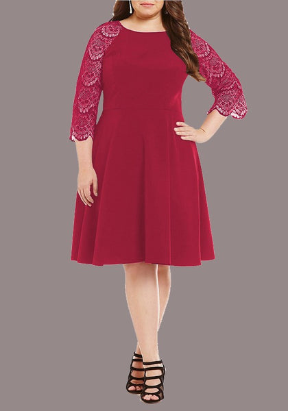 Red Lace Spliced Draped Bodycon Plus Size 3/4 Sleeve Elegant Party Midi Dress
