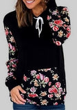 Black Floral Print Drawstring Long Sleeve Hooded Sweatshirt