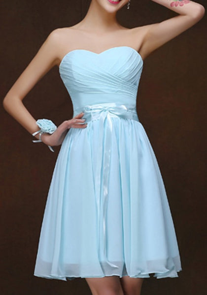 Light Blue Patchwork Grenadine Pleated Sashes Sleeveless Homecoming Elegant Midi Dress