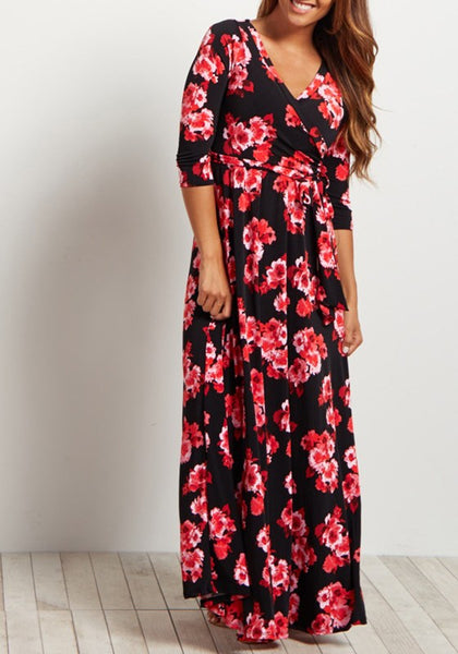 Black Floral Sashes Draped V-neck Bohemian Maxi Dress