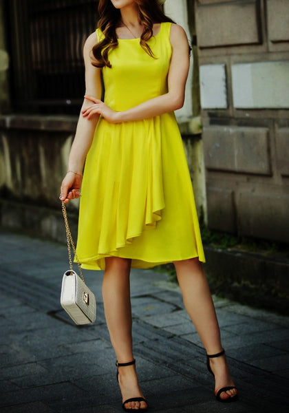 Yellow Plain Irregular Semicircular Fashion Polyester Midi Dress