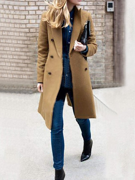Khaki Pockets Double Breasted Turndown Collar Long Sleeve Wool Coat