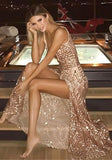 Golden Sequin Draped Slit Spaghetti Strap Backless Deep V-neck Party Maxi Dress