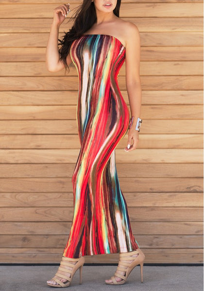 Red Striped Colorful Print Bandeau Backless Off Shoulder Bodycon Party Maxi Dress