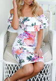 White Floral Cascading Ruffle Zipper Off Shoulder Bodycon Cocktail Party Cute Midi Dress