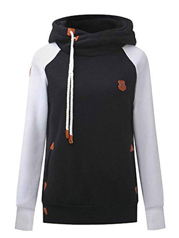 Black Color Block Drawstring Pockets Badge Print Hooded Long Sleeve Casual Sweatshirt