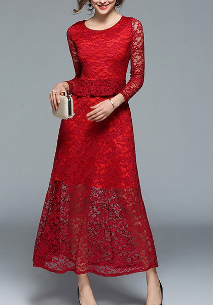 Wine Red Patchwork Lace Ruffle Long Sleeve Elegant Maxi Dress